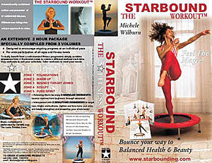 The Starbound Workout video compilation, a 2 hour rebounding aerobics video compilation for using mini trampolines; presented by Michele Wilburn; available at at www.starbounding.com